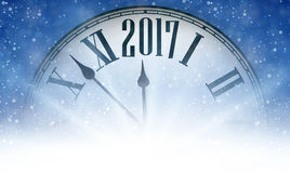 2017 New Year background with clock. 2017 New Year blue background with clock and snow. Vector illustration Stock Photo
