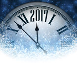 2017 New Year background with clock. 2017 New Year blue background with clock and snow. Vector illustration Royalty Free Stock Photo