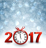 2017 New Year background with clock. 2017 New Year blue background with clock and snow. Vector illustration Stock Illustration