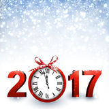 2017 New Year background with clock. 2017 New Year blue background with clock and snow. Vector illustration Stock Photos