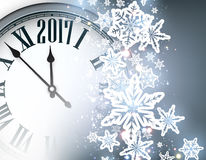 2017 New Year background with clock. 2017 New Year blue background with clock and snowflakes. Vector illustration Stock Photos