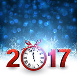 2017 New Year background with clock. 2017 New Year blue background with clock and snowflakes. Vector illustration Royalty Free Stock Photos
