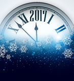 2017 New Year background with clock. Royalty Free Stock Photos