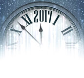2017 New Year background with clock. 2017 New Year blue background with clock. Vector illustration Stock Photos