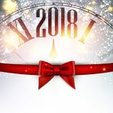 2018 New Year background with clock. 2018 New Year background with clock and bow. Vector illustration Stock Photography