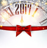 2017 New Year background with clock. 2017 New Year background with clock and bow. Vector illustration Royalty Free Stock Photos