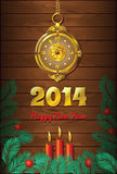 New Year Background with clock and candles. New Year Wooden Background with retro gold clock and candles Stock Image