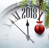 2018 New Year background with clock. 2018 New Year background with clock and Christmas ball. Vector illustration Royalty Free Stock Photography