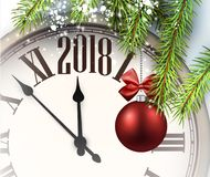 2018 New Year background with clock. 2018 New Year background with clock and Christmas ball. Vector illustration Royalty Free Stock Photo