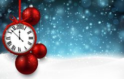 2018 New Year background with clock. 2018 New Year background with clock and Christmas balls. Vector illustration Stock Photo