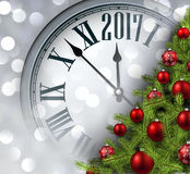 2017 New Year background with clock. 2017 New Year background with clock and Christmas tree. Vector illustration Stock Image