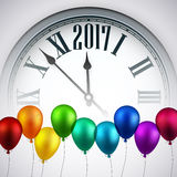 2017 New Year background with clock. 2017 Year background with clock and color balloons. Vector illustration stock illustration