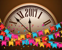 2017 New Year background with clock. 2017 New Year background with clock and color flags. Vector illustration Stock Images