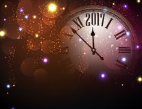 2017 New Year background with clock. 2017 New Year color background with clock. Vector illustration Royalty Free Stock Images