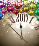 2017 New Year background with clock. 2017 New Year background with clock and colored balls. Vector illustration Stock Images