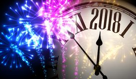 2018 New Year background with clock. 2018 New Year background with clock and colorful fireworks. Vector illustration Royalty Free Stock Images