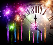 2017 New Year background with clock. 2017 New Year background with clock and colorful fireworks. Vector illustration Stock Photos