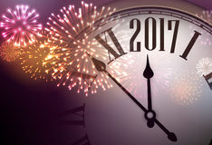 2017 New Year background with clock. 2017 New Year background with clock and colorful fireworks. Vector illustration Stock Photo