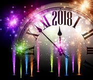 2018 New Year background with clock. 2018 New Year background with clock and colorful fireworks. Vector illustration Royalty Free Stock Photography