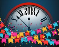 2018 New Year background with clock. 2018 New Year background with clock and colorful flags. Vector illustration royalty free illustration
