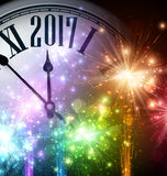 2017 New Year background with clock. 2017 New Year background with clock and colorful lights. Vector illustration Royalty Free Stock Images
