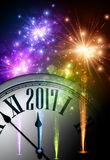 2017 New Year background with clock. 2017 New Year background with clock and colorful lights. Vector illustration Royalty Free Illustration