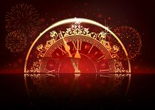 New Year Background with Clock Face and Fireworks royalty free illustration