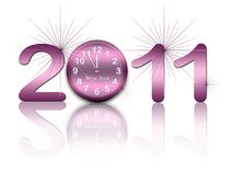New year background with clock and figures 2011 Royalty Free Stock Images