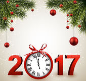 2017 New Year background with clock. 2017 New Year background with clock, fir and balls. Vector illustration royalty free illustration