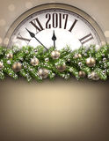 2017 New Year background with clock. Royalty Free Stock Images