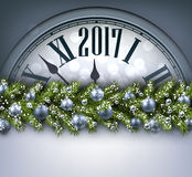2017 New Year background with clock. 2017 Year background with clock, fir branch and balls. Vector illustration Royalty Free Stock Image