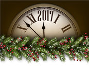 2017 New Year background with clock. 2017 New Year background with clock and fir branch. Vector illustration Stock Photography