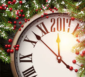 2017 New Year background with clock. 2017 New Year background with clock and fir branches. Vector illustration Royalty Free Stock Photos