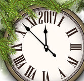 2017 New Year background with clock. 2017 New Year background with clock and fir branches. Vector illustration Stock Photography