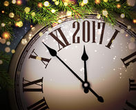 2017 New Year background with clock. 2017 New Year background with clock and fir branches. Vector illustration Royalty Free Stock Photo