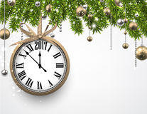 2017 New Year background with clock. 2017 New Year background with clock and fir branches. Vector illustration vector illustration