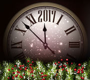 2017 New Year background with clock. 2017 New Year background with clock and fir branches. Vector illustration Stock Photo