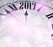 2017 New Year background with clock. 2017 New Year background with clock and fireworks. Vector illustration Royalty Free Stock Photography