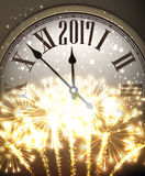 2017 New Year background with clock. 2017 New Year background with clock and fireworks. Vector illustration Stock Images