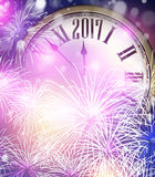 2017 New Year background with clock. 2017 New Year background with clock and fireworks. Vector illustration Royalty Free Stock Image