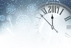 2017 New Year background with clock. 2017 New Year background with clock and fireworks. Vector illustration Stock Photos