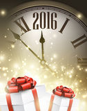 2016 New Year background. With clock and gifts. Vector illustration Royalty Free Stock Photos