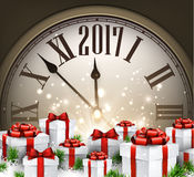 2017 New Year background with clock. 2017 New Year background with clock and gifts. Vector illustration Stock Photography
