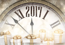 2017 New Year background. 2017 New Year background with clock and gifts. Vector illustration Stock Image