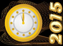 2015 - New year background with clock and gold mesh. On black area Stock Photography