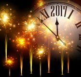 2017 New Year background with clock. 2017 New Year background with clock and golden fireworks. Vector illustration Stock Illustration