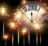 2018 New Year background with clock. 2018 New Year background with clock and golden fireworks. Vector illustration Royalty Free Stock Image