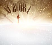 2018 New Year background with clock. Golden 2018 New Year background with clock and snow. Vector illustration Stock Photography