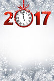 2017 New Year background with clock. 2017 New Year gray background with red clock. Vector illustration Stock Photography