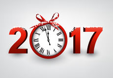 2017 New Year background with clock. 2017 New Year gray background with red clock. Vector illustration stock illustration